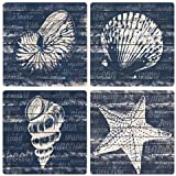 "CoasterStone Coastal Wonder Absorbent Coasters (Set of 4), 4-1/4"", Multicolor"