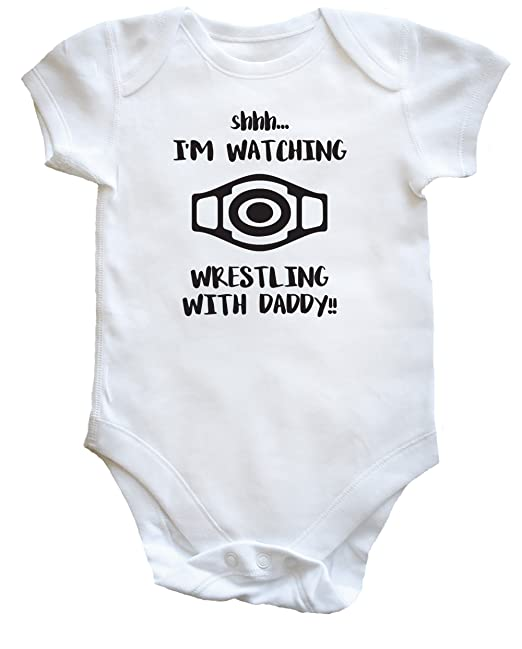 f3ab09438 Hippowarehouse Shhh. I'm Watching Wrestling Daddy!! Baby Vest Bodysuit  (Short