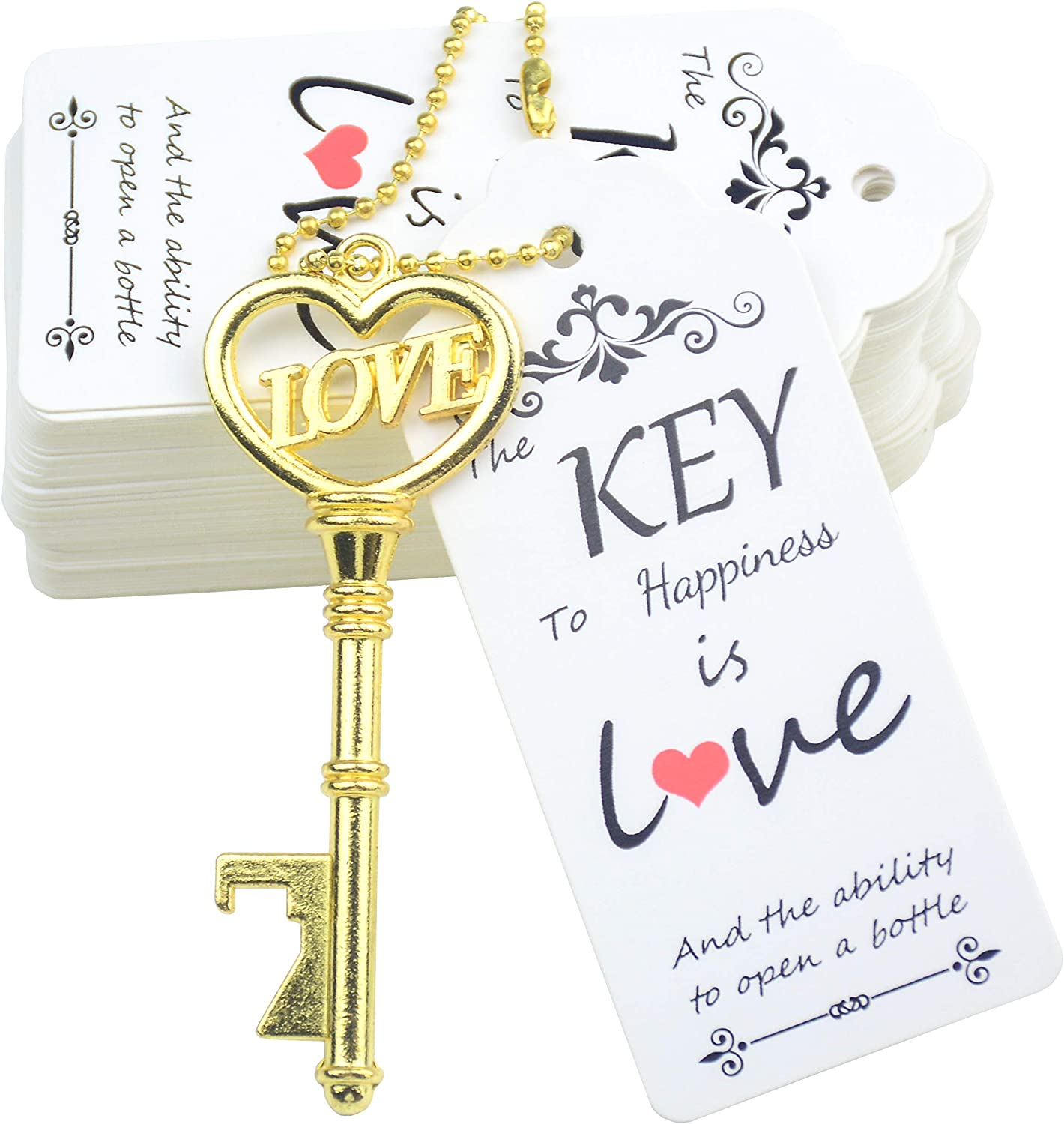 Makhry 52pcs Vintage Skeleton Key Bottle Opener with Love Heart Escort Thank You Tags and Keychain as Wedding Favor for Wedding Guest Wedding Decor (Gold)