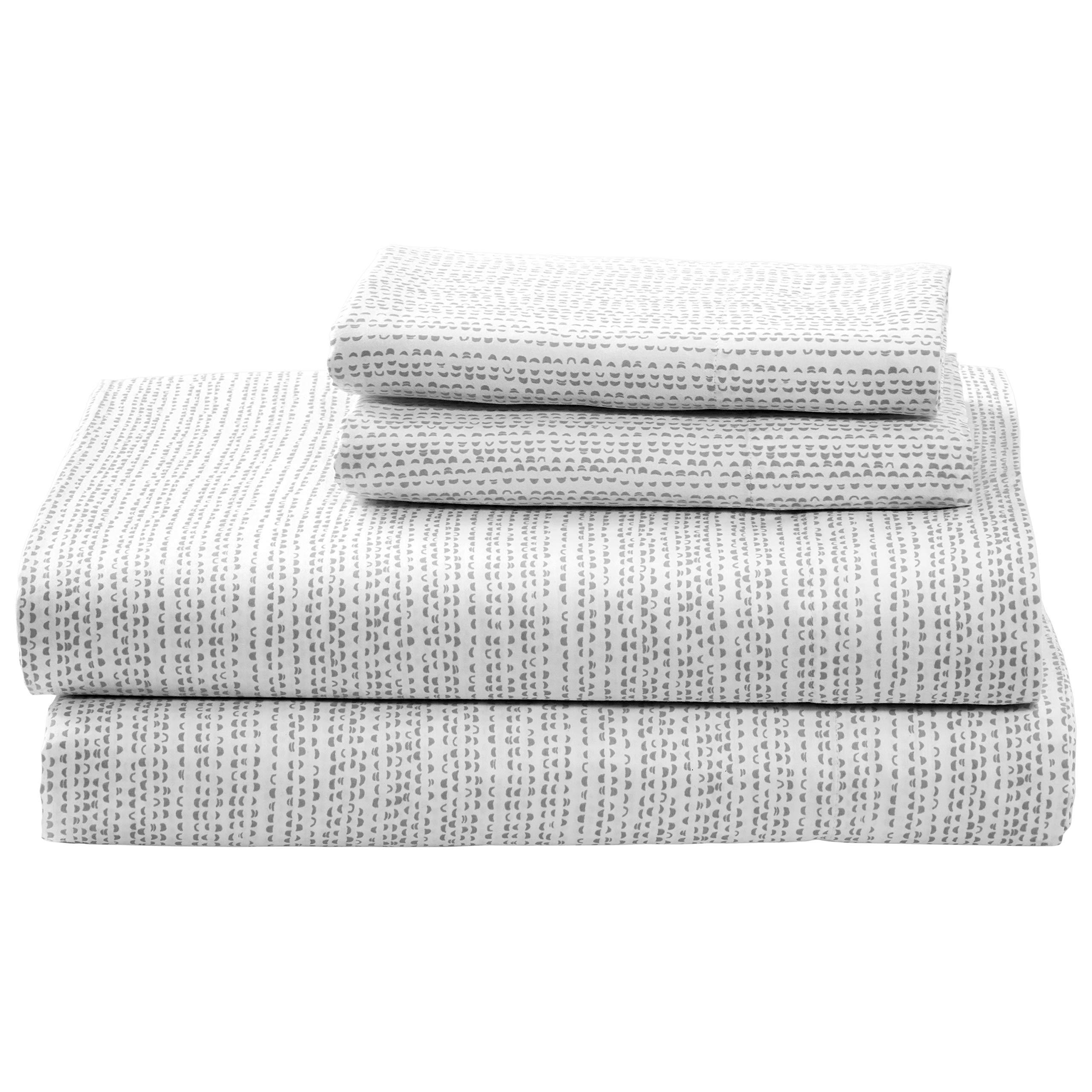 Rivet Half Moon Sateen 100% Cotton Bed Sheet Set, King, Pewter