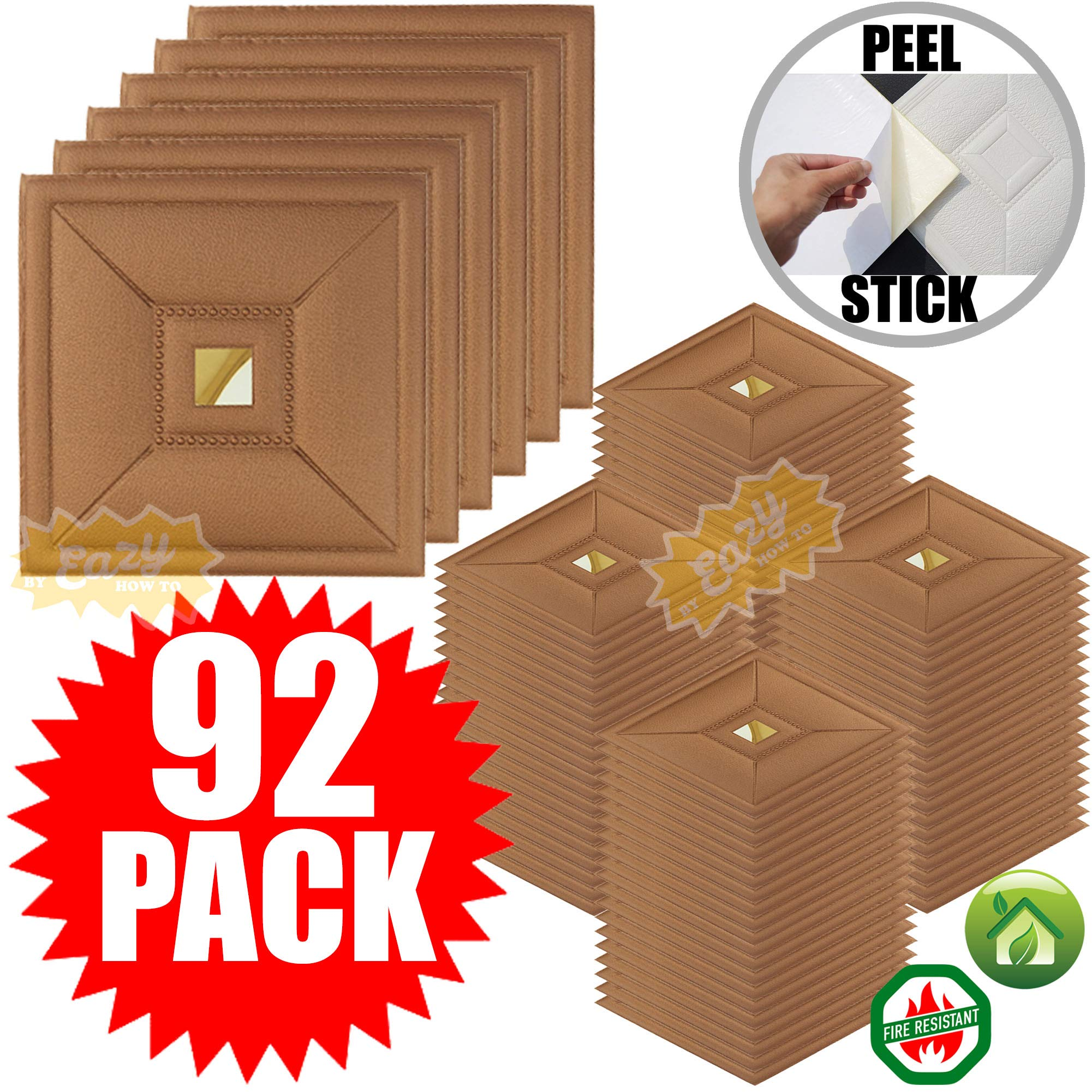 Eazy How To 92 Pack Ceiling Tiles 12''x12'' Peel and Stick Easy Installation Textured Panels - Metallic Copper