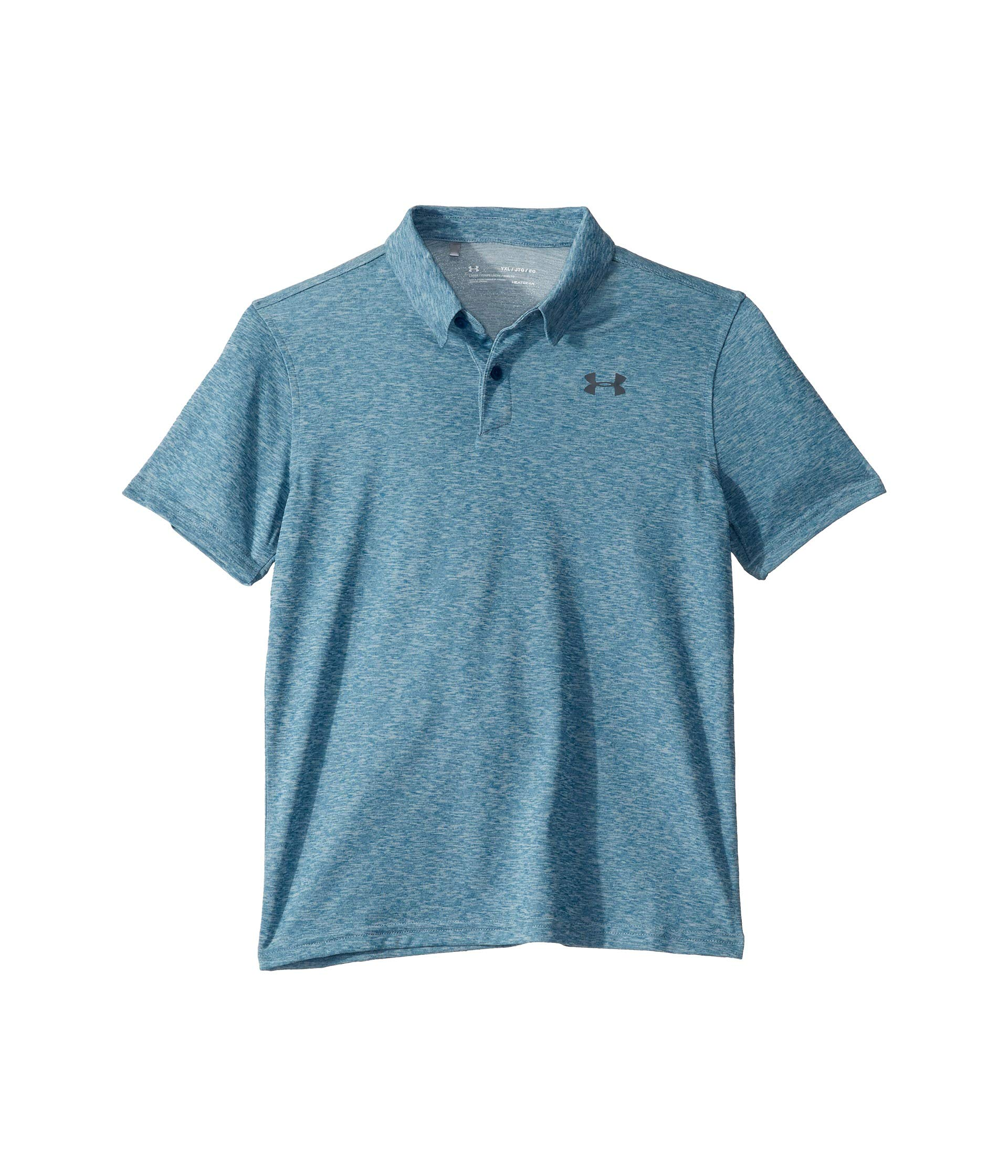 Under Armour Kids Boy's Threadborne/TBD Polo (Big Kids) Teal Vibe Light Heather/Teal Vibe Light Heather/Pitch Gray Large by Under Armour