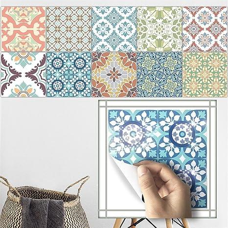 Amazon.com: VanBest Mediterranean Continental Retro Tile Stickers Kitchen Bathroom Bathtub Waterproof Wall Stickers Home Creative Decoration: Home & Kitchen