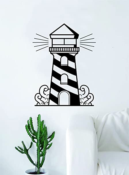 Wall Tattoo Watercolour Lighthouse with mountains Red Orange Wall Sticker