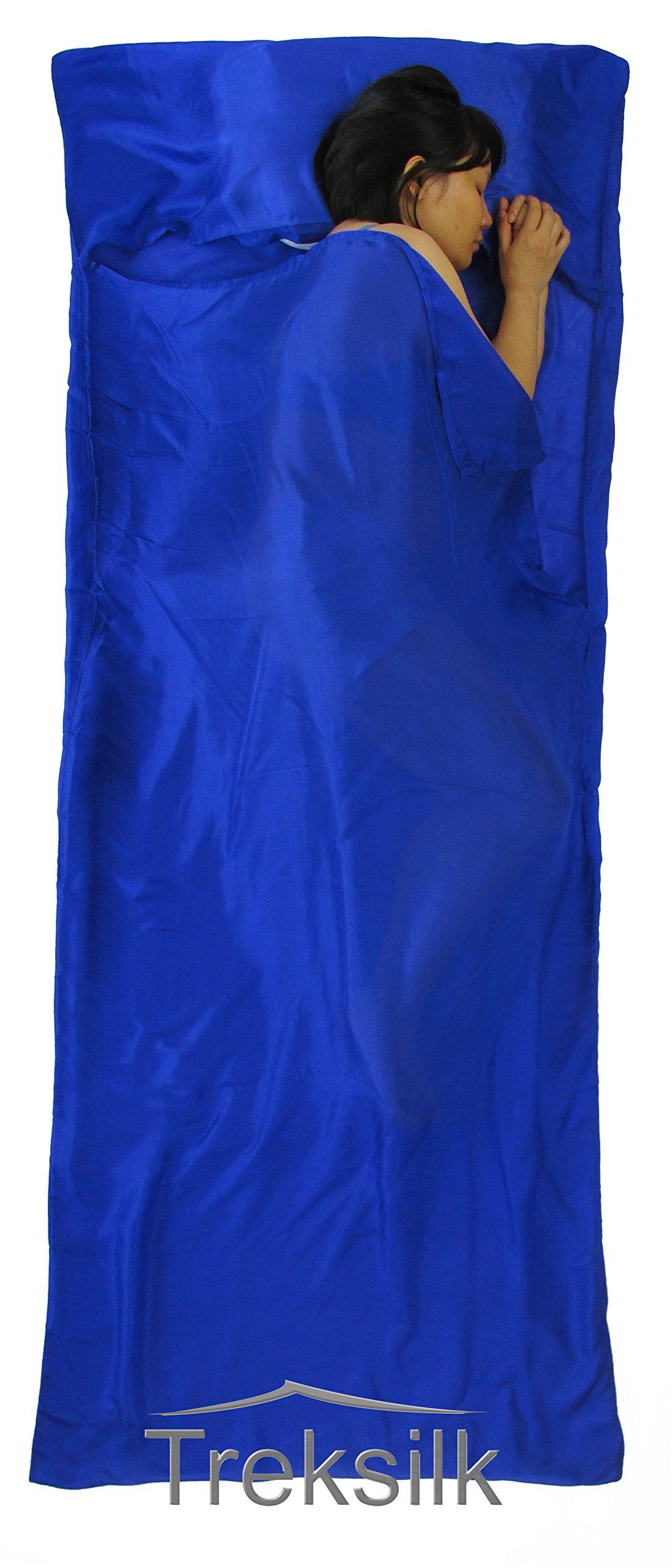 Treksilk: 240 cm! 100% Mulberry Silk Single Sleeping Bag Liner Travel Sheet Sack (Royal Blue) by Treksilk