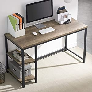 UnaFurni Computer Desk with Shelves, Wood and Metal Home Office Desk 47 Inch, Rustic Study Writing Desk, Ash Gray