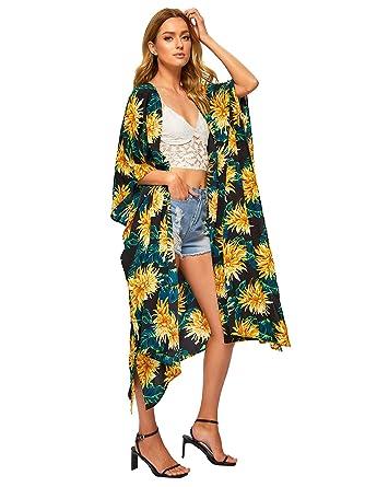 9f3ab1d42d4a SweatyRocks Women's Flowy Kimono Cardigan Open Front Maxi Dress Long Cover  Ups Multicolor ...