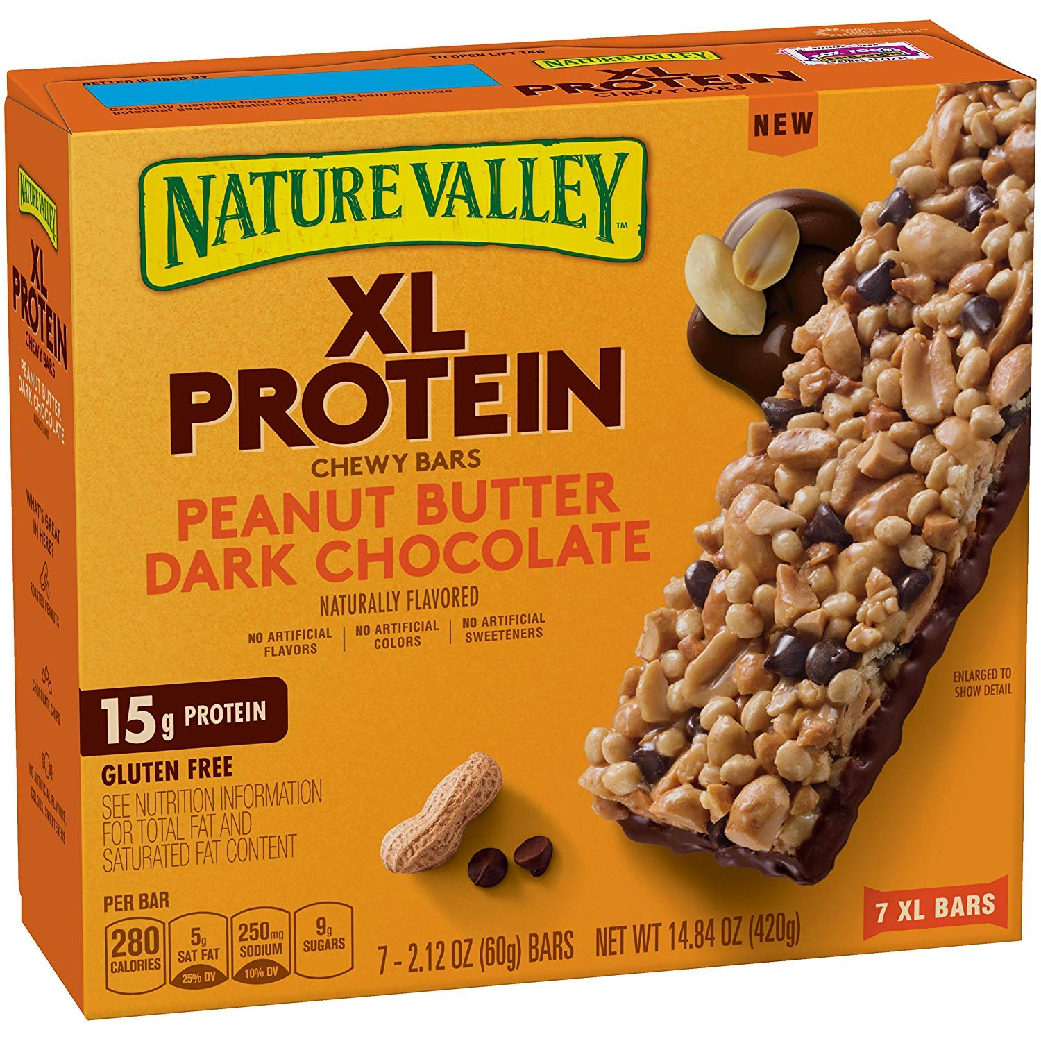 Nature Valley Chewy Granola Bar, XL Protein, Gluten Free, Peanut Butter Dark Chocolate, 7 Bars, 2.12 oz, 42 Bars (3 Boxes)