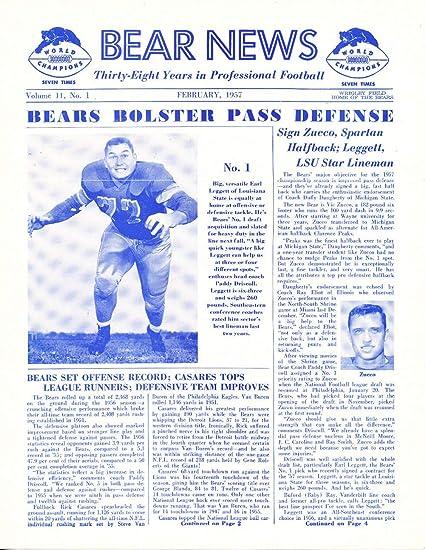 Amazon com: 2/1957 Chicago Bears Bear News Newsletter em