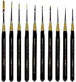 KINGART Original Golden TAKLON Mini Set of 10 Paint Brush Set, Black/Gold/Silver