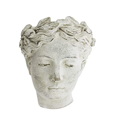 "Distinctive Designs Wall-Mounted Greek/Roman Style Female Statue Head Cement Planter, 8"" : Garden & Outdoor"