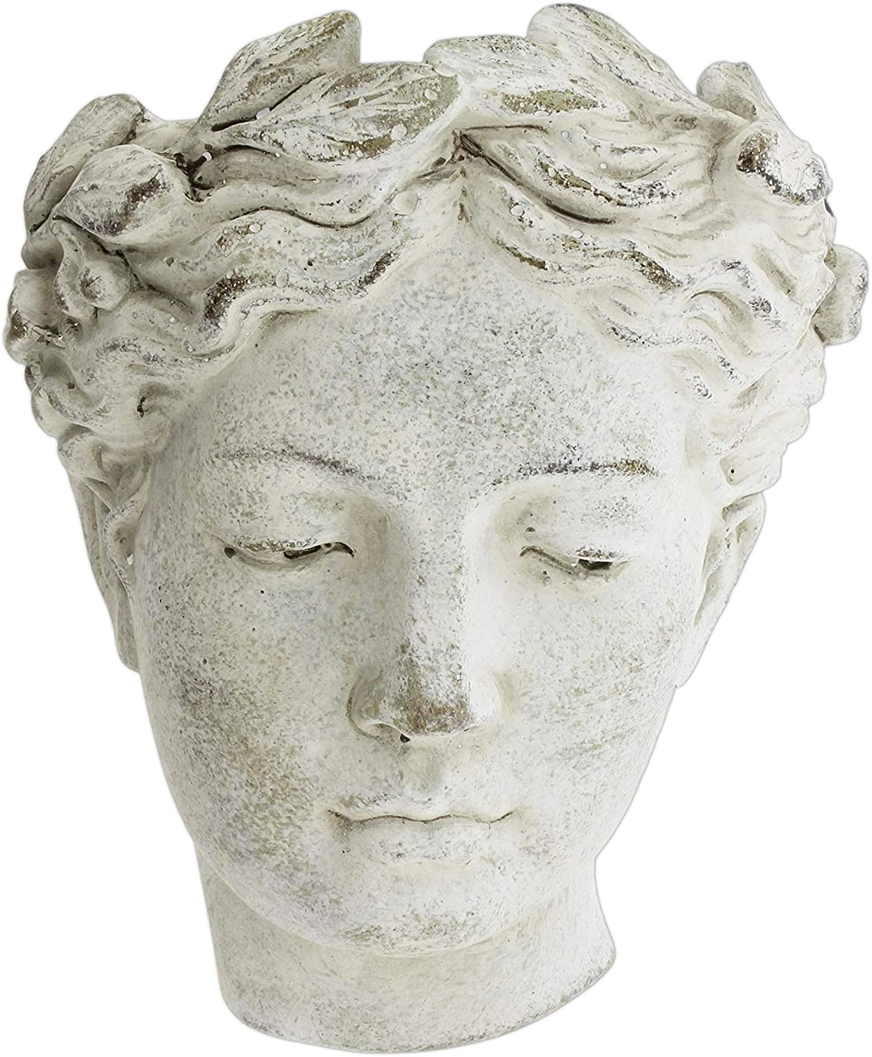 Distinctive Designs Wall-Mounted Greek Roman Style Female Statue Head Cement Planter, 8