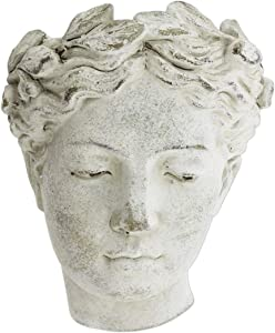 Wall-Mounted Greek/Roman Style Female Statue Head Cement Planter, 8""
