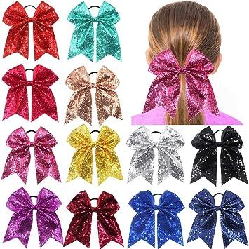 "7/"" Large Sequin Hair Bow Hair Ties For Girls Scrunchy Woman Hair Gum Accessories"