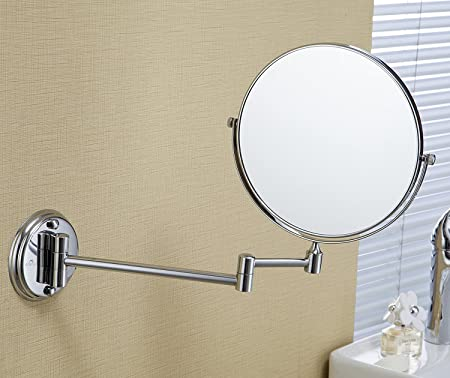 ZEYA Stainless Steel Makeup Mirror with 5X Magnifying-Mirror & Wall Bracket with Flexible Rod(200 mm,Silver)