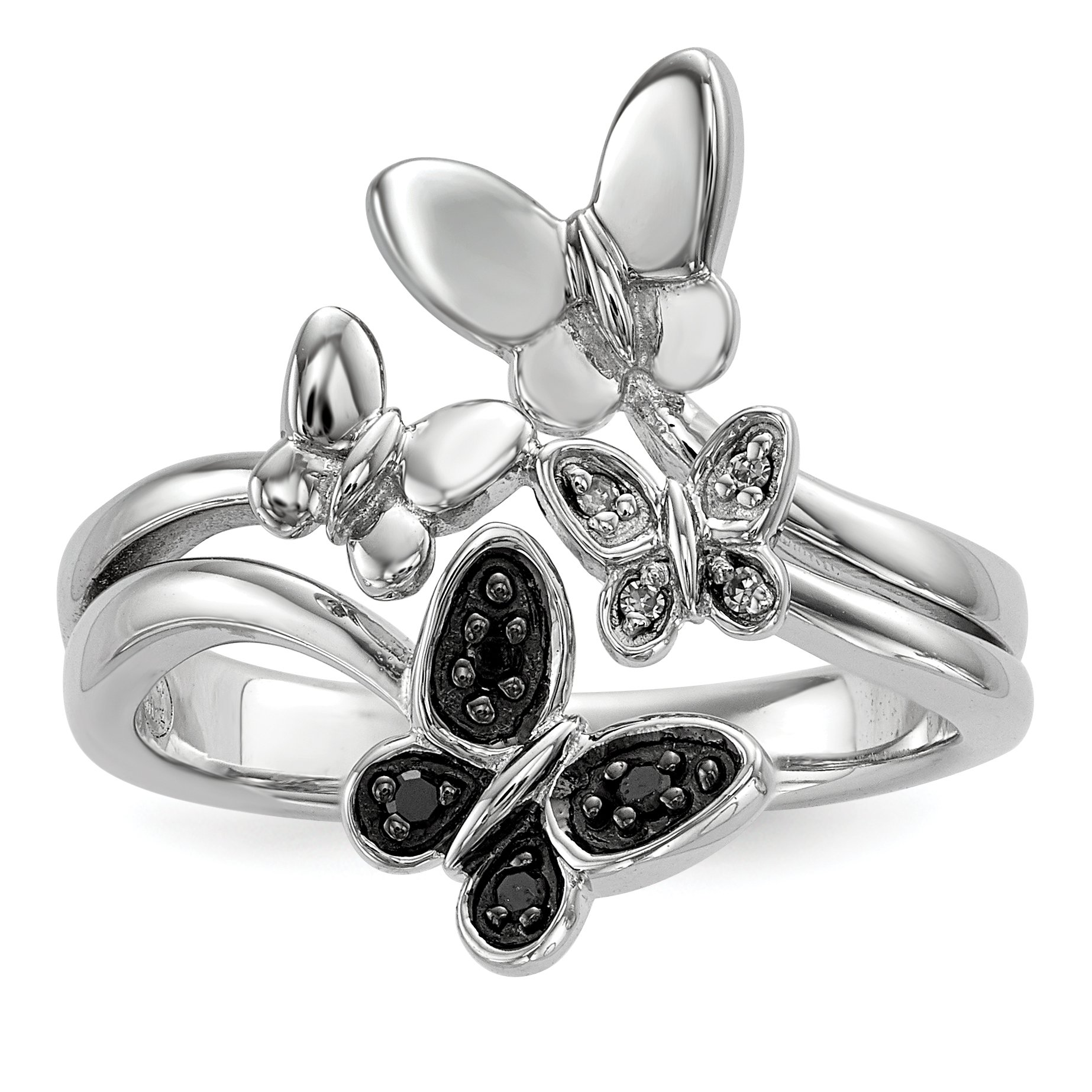 ICE CARATS 925 Sterling Silver White Black Diamond Butterfly Band Ring Size 6.00 Fine Jewelry Gift Set For Women Heart