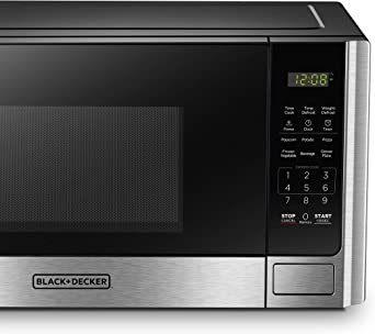 BLACK+DECKER EM925AB9 Digital Microwave Oven with Turntable Push-Button Door,Child Safety Lock,900W,0.9 cu.ft,Stainless Steel,
