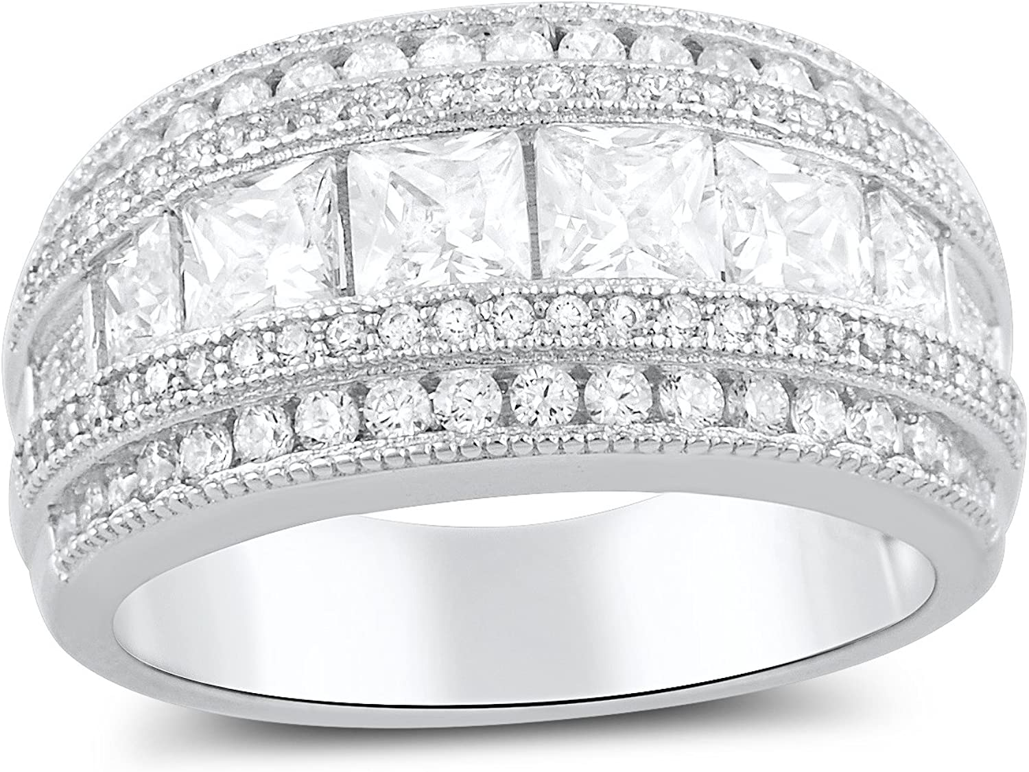 Sterling Silver Wide Square Cut Cz Statement Ring (Size 4-11)