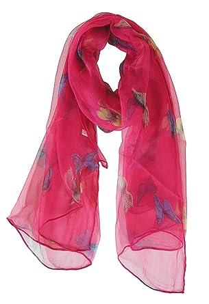 7624b52697ba Foulard étole mousseline de soie rose imprimé papillons  Vêtements ...