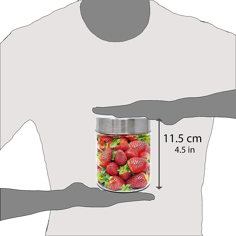 mit Schraubverschluss. 0,48 L Set 4 Vorratsdosen aus Glas 11,5x10 cm