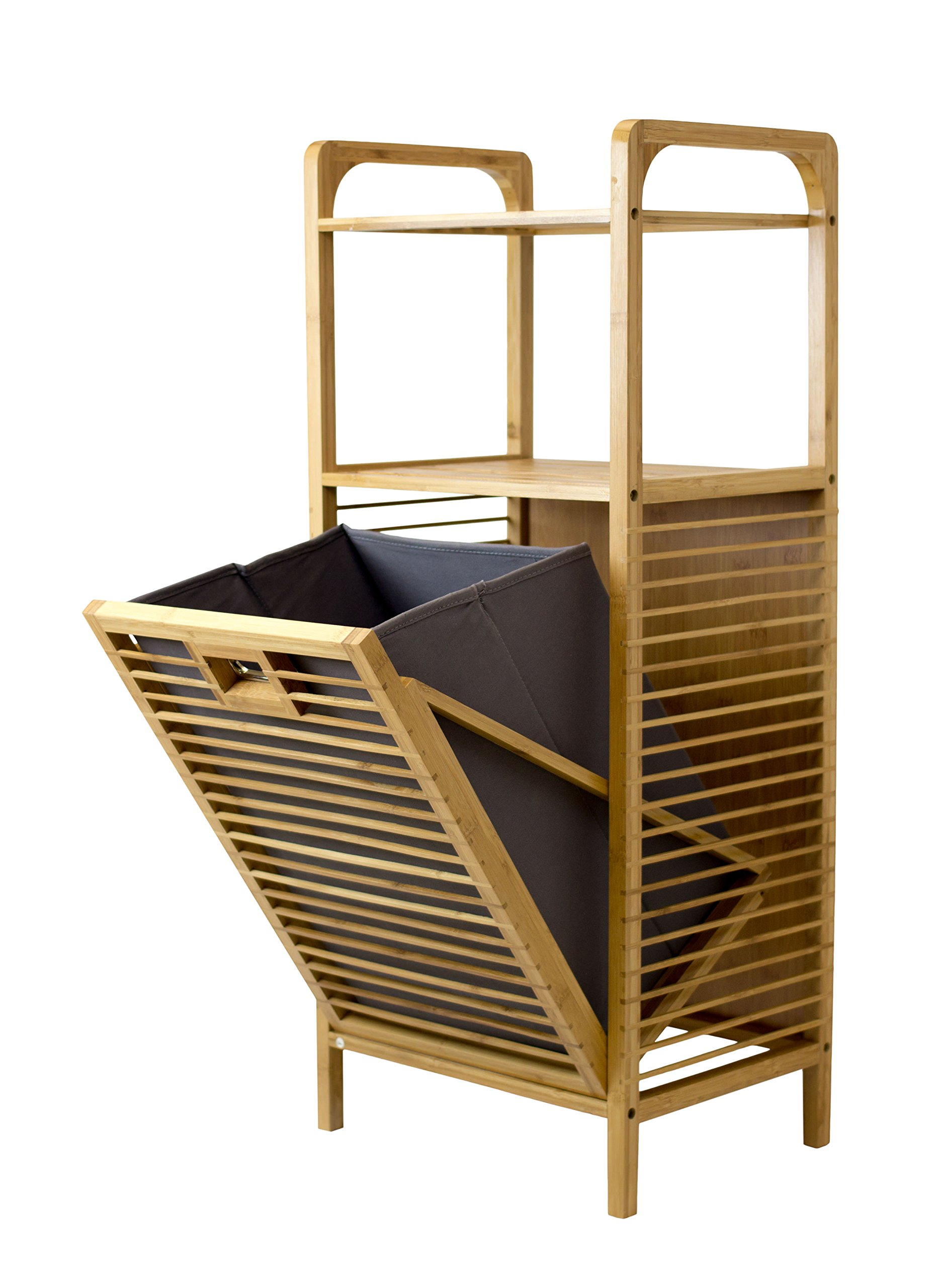 SpaceMaster Laundry Storage Hamper Bamboo Tilt, Brown - Compliment your laundry room décor with the SpaceMaster genuine bamboo laundry hamper with tilt and shelves. Designed with an elegant and rustic appeal, it is both practical and a complimentary laundry room addition that provides both extra storage and keeps laundry out of sight This freestanding fold out laundry room hamper with 2 shelves measures 12.6X 16X 38And weighs approximately 11 pounds and requires simple assembly after delivery Made of genuine bamboo for a reliable and sturdy frame, the stained bamboo finish creates a natural look and rustic feel. Built with magnets to keep the hamper closed - laundry-room, hampers-baskets, entryway-laundry-room - 817%2BxuDjzXL -