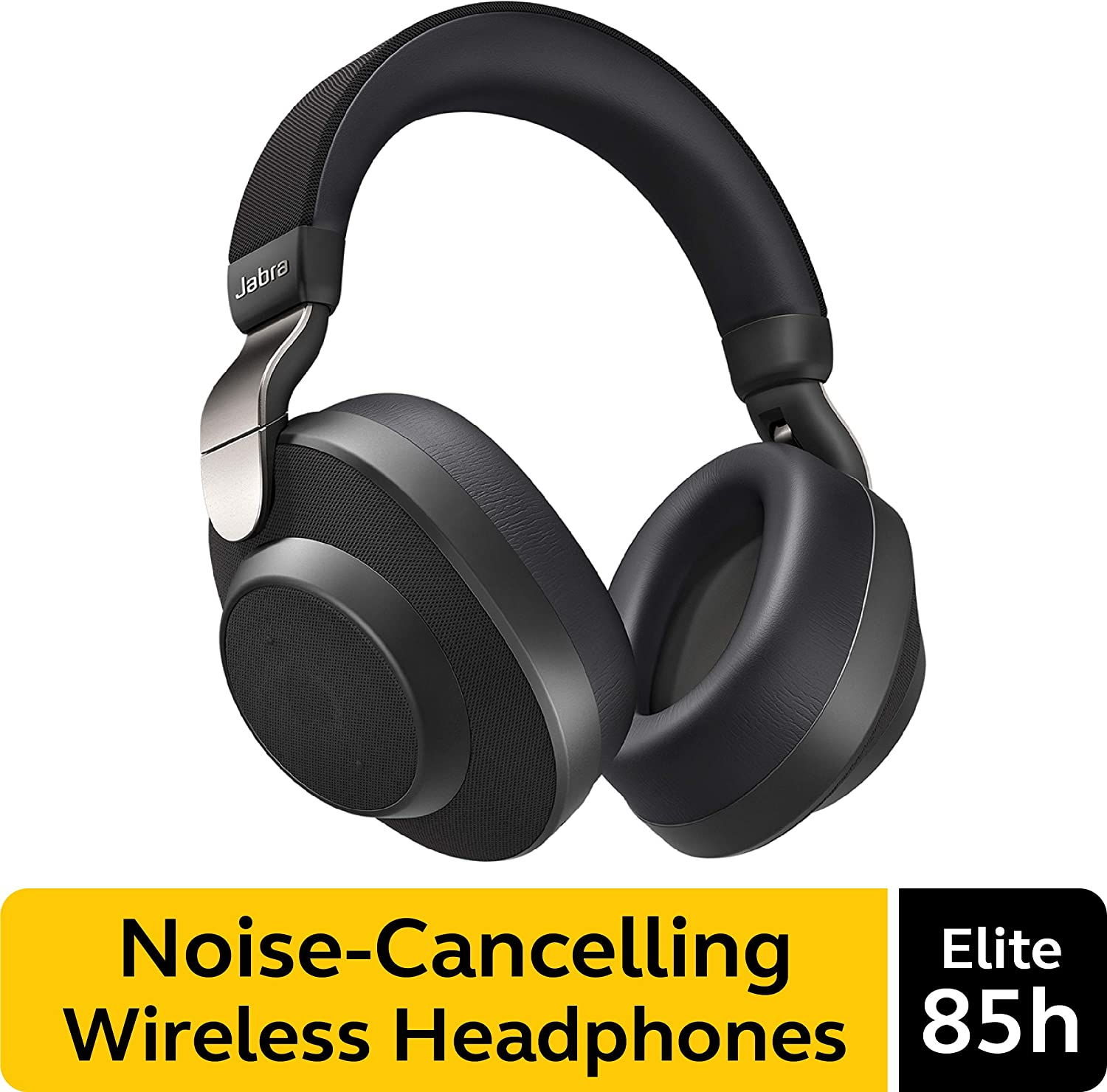 Jabra Elite 85h Wireless Noise-Canceling Headphones, Titanium Black – Over Ear Bluetooth Headphones Compatible with iPhone & Android - Built-in Microphone, Long Battery Life - Rain & Water Resistant