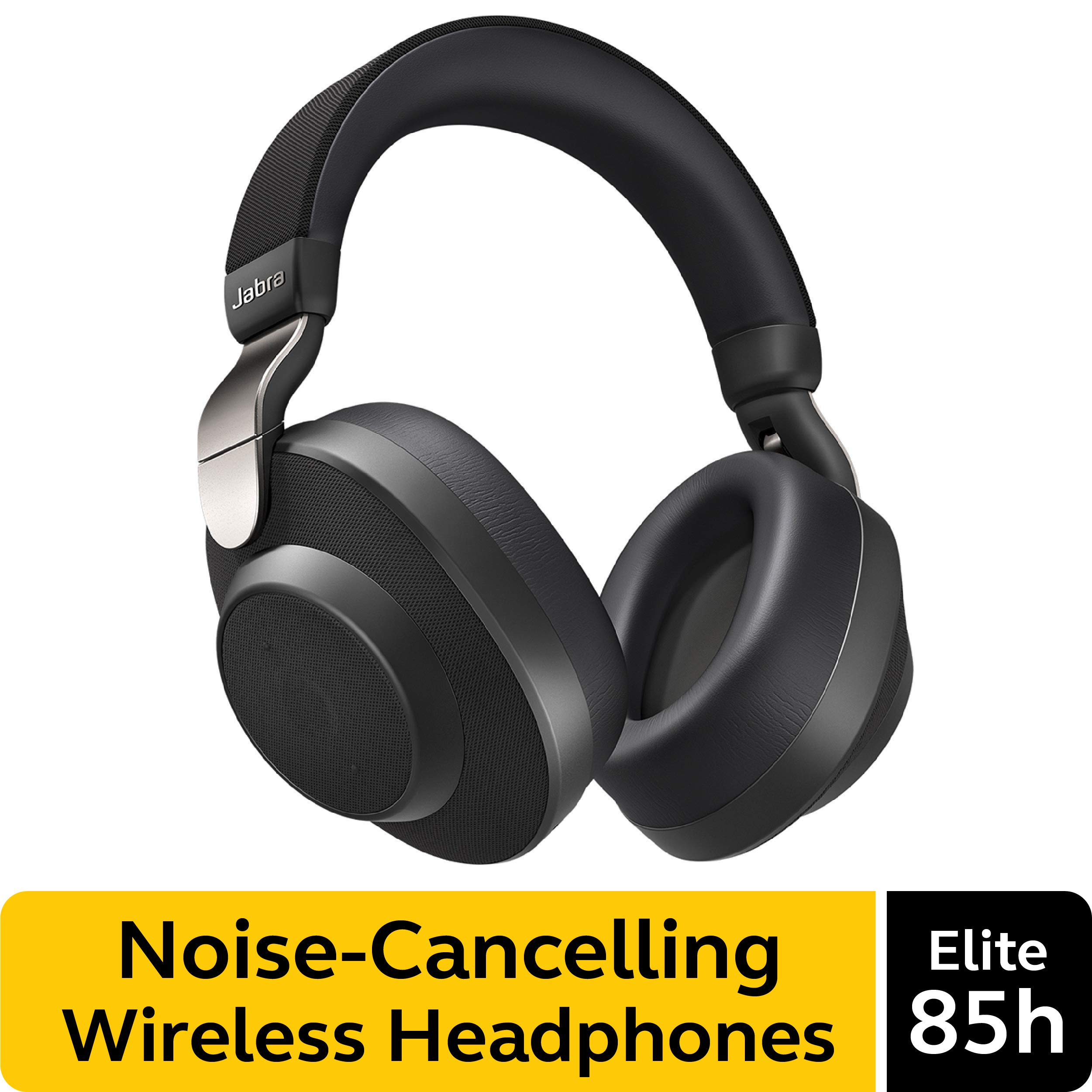 Jabra Elite 85h Wireless Noise-Canceling Headphones, Titanium Black - Over Ear Bluetooth Headphones Compatible with iPhone & Android - Built-in Microphone, Long Battery Life - Rain & Water Resistant by Jabra