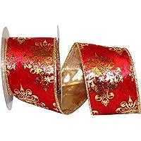 Reliant Ribbon 92724W-065-40F Velvet Crest Metallic Back Wired Edge Ribbon, Red