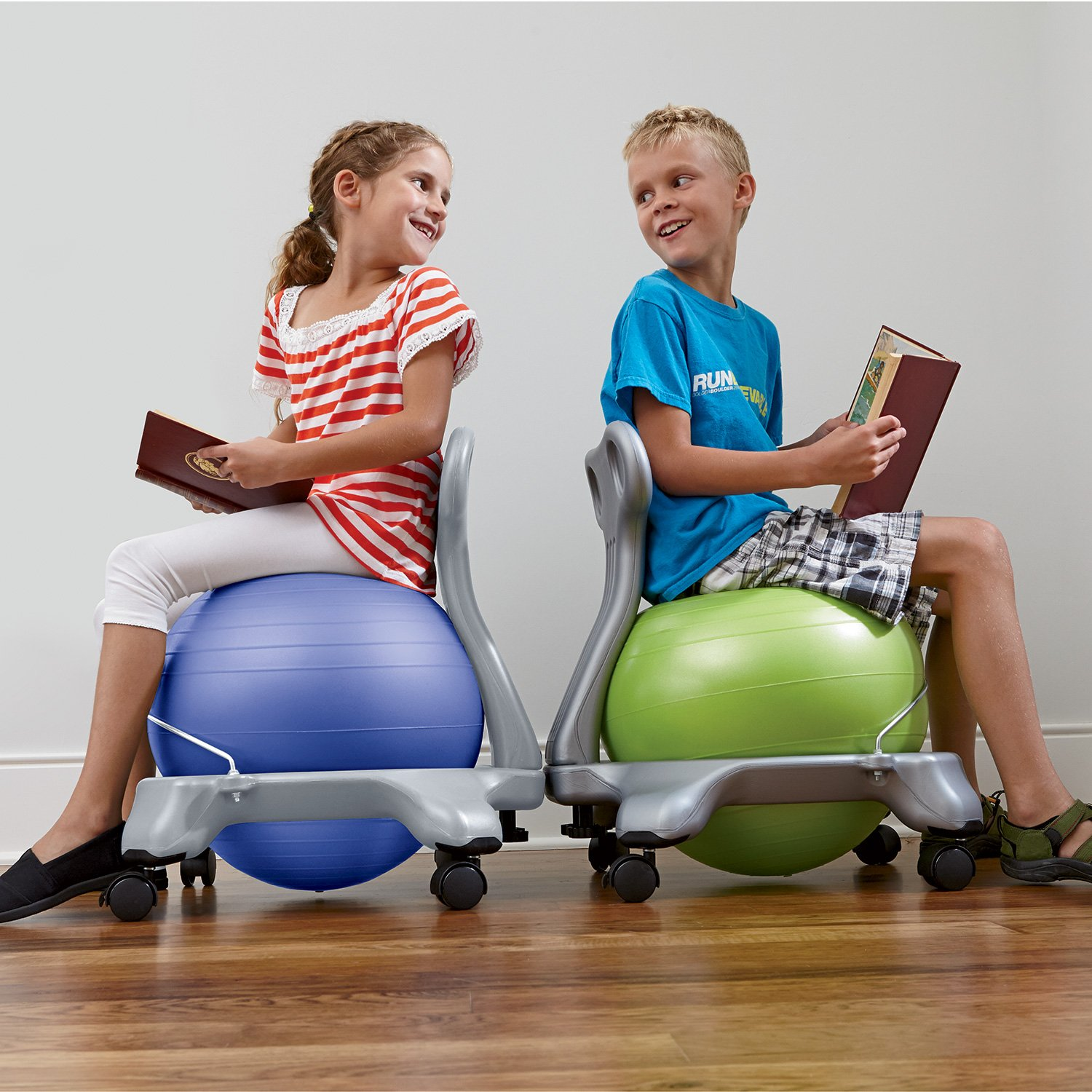 Gaiam Kids Balance Ball Chair - Classic Children's Stability Ball Chair, Alternative School Classroom Flexible Desk Seating for Active Students with Satisfaction Guarantee, Green by Gaiam (Image #7)