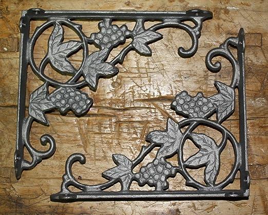 Garden Braces Shelf Bracket 6 Cast Iron Antique Style GRAPES /& VINE Brackets