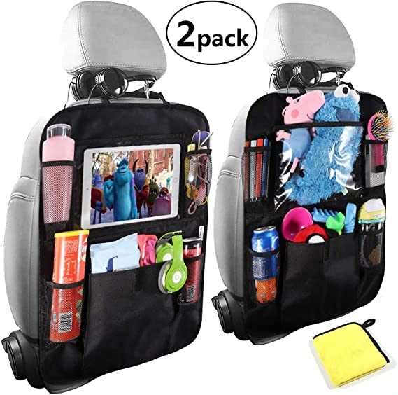 TYSKL Car Backseat Organizer with10 Screen Tablet Holder 2 Pack, Army Camouflage 9 Storage Pockets 2 Hooks Car Seat Back Protectors Great Travel Accessories for Kids and Toddlers