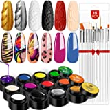 Saviland Gel Paint Kit - Gel Nail Polish Kit 12 Colors Soak Off Gel Polish Set with 15pcs Painting Drawing Nail Brush Pen for