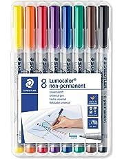 Staedtler Lumocolor 316 WP8 Folienstift, non-permanent, wasserlöslich, F-Spitze Linienbreite ca. 0.6 mm, hohe Qualität, Set mit 8 Farben