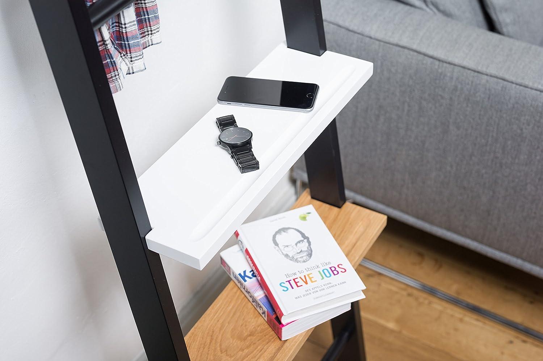Kleiderleiter Regalboden Erweitert die Funktion als Stummer Diener, Nachttisch (Weiß)