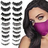 tuokiy Magnetic Eyelashes with Eyeliner Kit, 10 Pairs Reusable Nature look False Eye Lashes, Easy to apply with Applicator, N