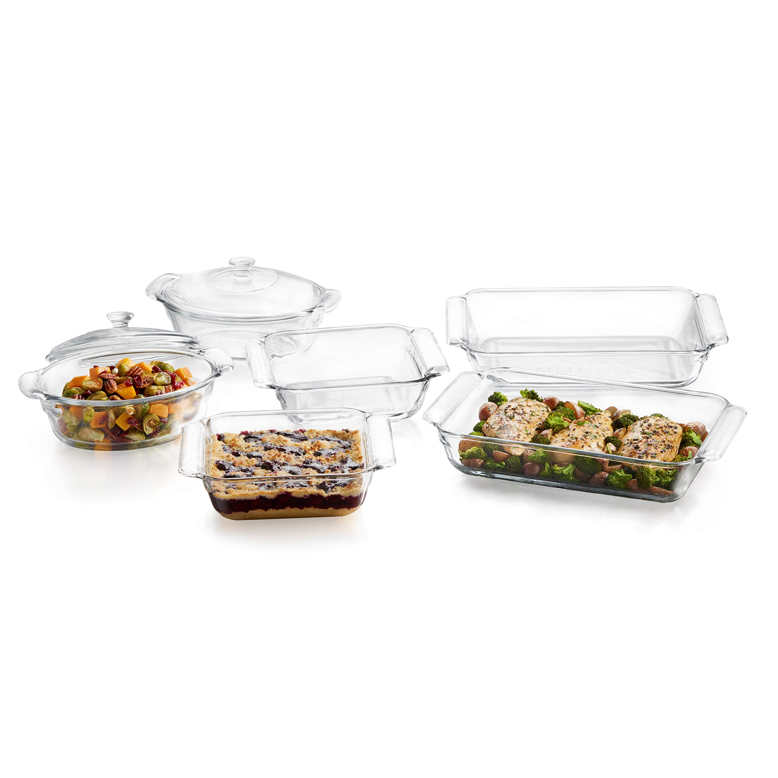 Libbey Baker's Premium 6-Piece Glass Casserole Baking Dish Set with 2 Covers by Libbey (Image #7)