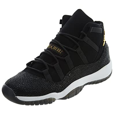 Jordan Air 11 Retro Premium HC Big Kids  Basketball Shoes Black Gold-White 38464e95a