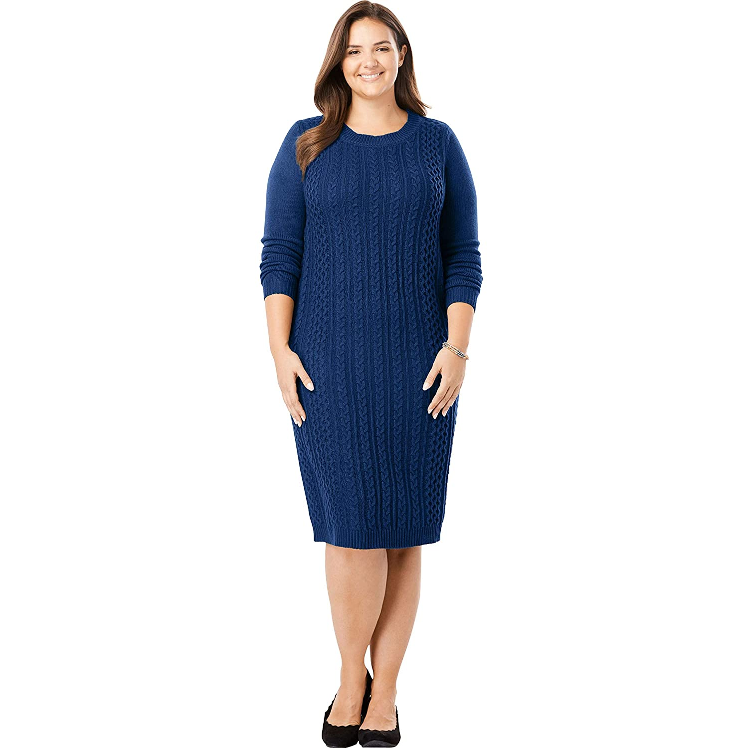 572c2d6993c Woman Within Plus Size Cableknit Sweater Dress at Amazon Women s Clothing  store