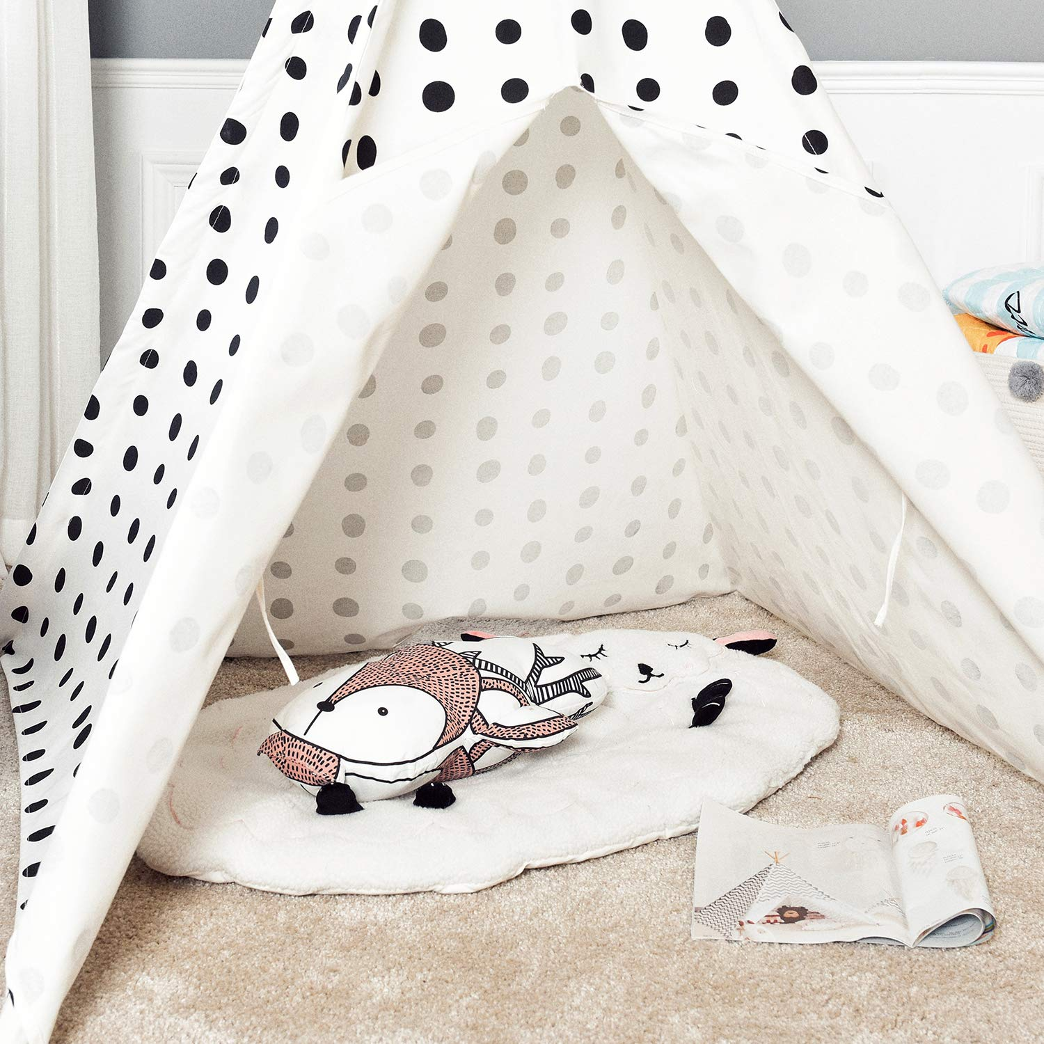 Asweets Teepee Tent for Kids Teepee Play Tent Mat for Boys Indoor Outdoor Play House Tent Indian Canvas Tipi Tent Blue Top Black Point by Asweets (Image #3)
