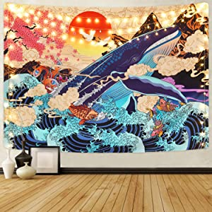 Japanese Ukiyo-e Tapestry Sea Wave Koi Tapestry Trippy Whale Japanese Tapestry, Sunset Animal Tapestry for Dorm Bedroom Living Room