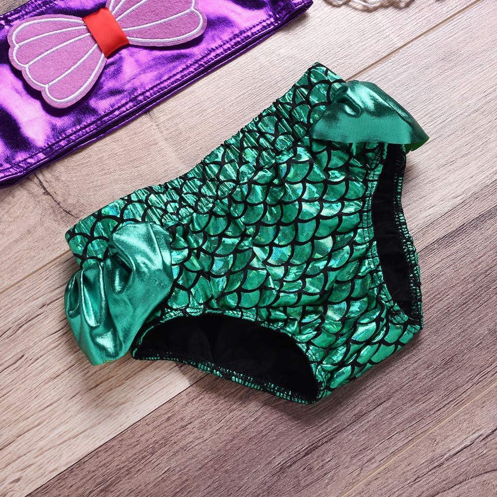 Pantaloncini da Bagno Bambina Fascia per Capelli Bimba 3Pcs Set Topgrowth Costumi Da Bagno Bambina Ragazza Costume Piscina Bagnarsi Stampa A Scala di Pesce Beachwear Neonata Swimsuit Bikini