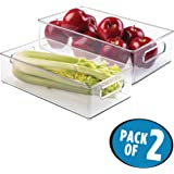 """mDesign Refrigerator, Freezer, Pantry Cabinet Organizer Bins for Kitchen - 8"""" x 4"""" x 14.5"""", Pack of 2, Clear"""