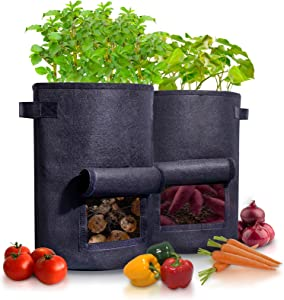 2-Pack 10 Gallon Potato Grow Bag, Heavy Duty Fabric Planters, Plant Bags with Comfortable and Reinforced Handles, Aeration Cloth Pots Prevent Root Circling, Wider Window Fabric Pot for Easy Harvest