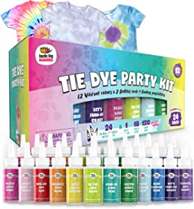 24 Bottles, 163 Items Tie Dye Party Kit: Rainbow Classic is The Ultimate kit with 12 Vibrant Colors in Easy-Squeeze Bottles, Ties and dye Technique Guide for Endless DIY Possibilities! (24 Pack)