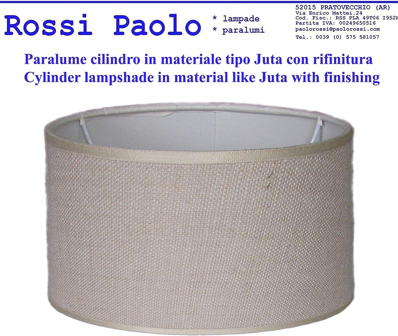 produzione propria made in Italy Cilindro, cm 14 Paralume coprilampada classico per lampada in tessuto tipo Juta con rifinitura