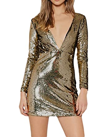 21c02c50459763 HaoDuoYi Womens Sparkle Sequin Plunge V Neck Backless Hollow Out Bodycon  Dress(XL