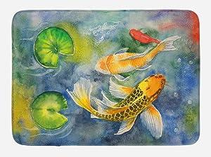 "Lunarable Koi Fish Bath Mat, Lillies Marine Life Colorful Watercolor Drawing of Divine Animal, Plush Bathroom Decor Mat with Non Slip Backing, 29.5"" X 17.5"", Violet Blue"