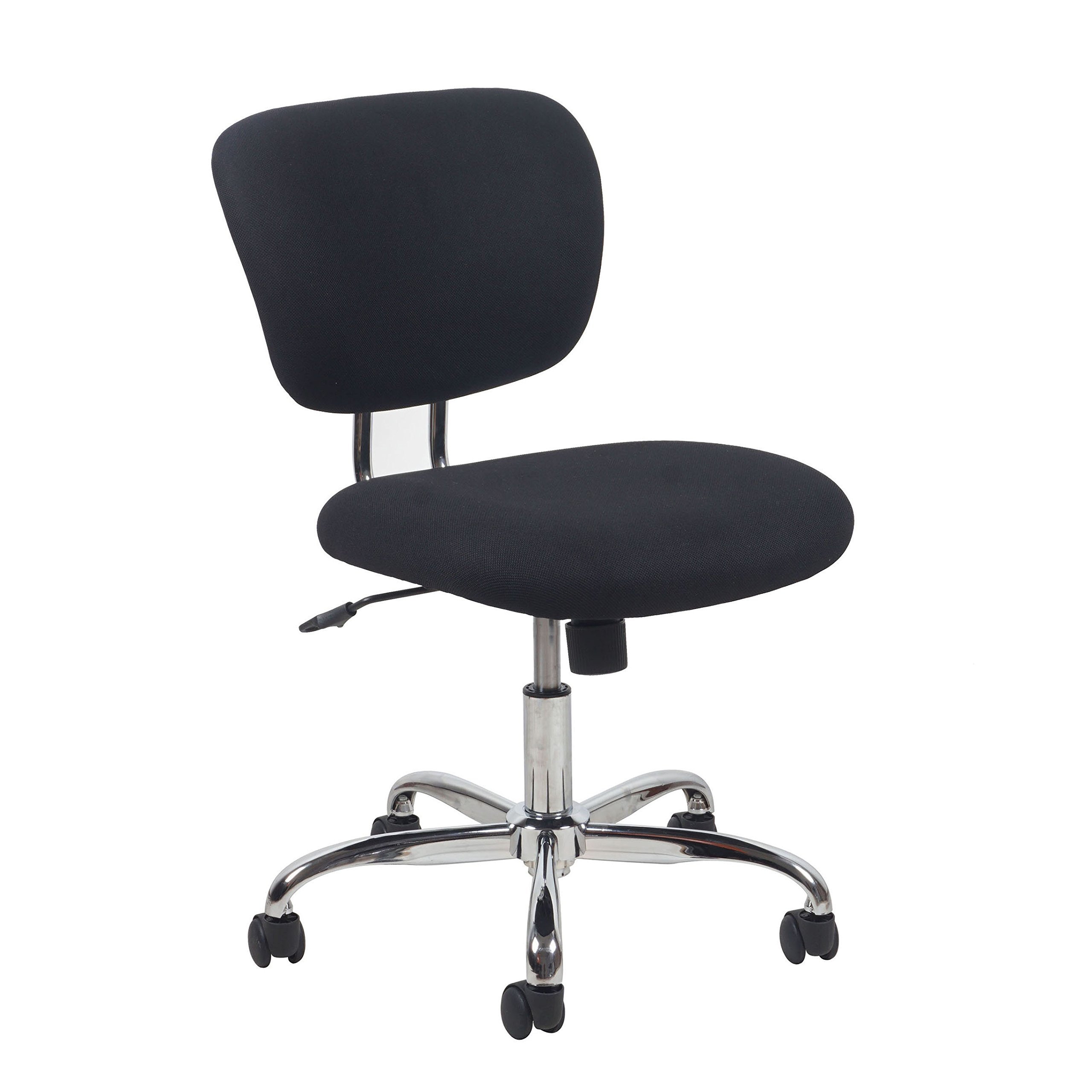 Essentials ESS-3090 Swivel Upholstered Armless Task Chair - Ergonomic Computer/Office Chair, Black/Chrome