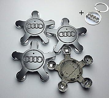 4 x Tapacubos Audi con Llavero Tribute, Tapas centrales Caps 135MM Spider Star araña Llantas de aleación Audi A 3 4 5 6 8 S TT RS: Amazon.es: Coche y moto