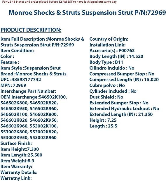 72909 Monroe Shocks /& Struts Suspension Strut P//N:72909